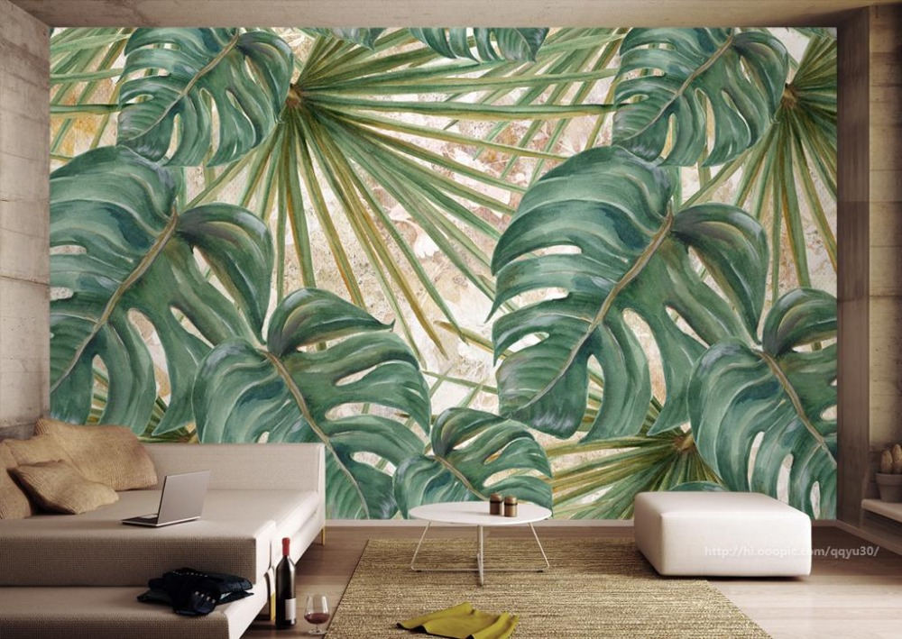 универсальная коляска caretto angel leaves collection 09 green Hand-painted Backdrop Photo Wallpaper Plant green leaves Wallpapers For Living Room Decorative Paintings
