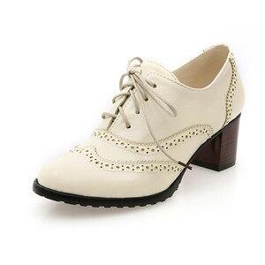 Image 4 - Женские туфли броги PXELENA, винтажные Туфли оксфорды на шнуровке, с массивными блочными вырезами, на каблуке, размера плюс, 2019
