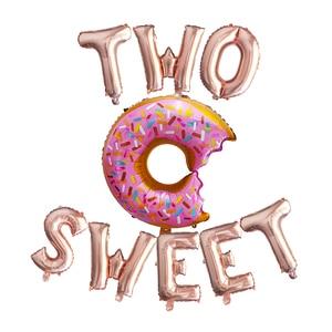 Image 1 - 1 Juego de globos de aluminio con forma de letras, 16 pulgadas, oro rosa, dos dulces globos de Donut para baby shower, decoración de fiesta de 2 ° cumpleaños, proveedor de fiesta