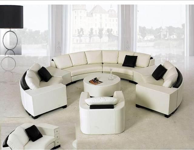 Online Shop Round Top Grain Leather Sofa Custom Creative Fashion Simple Living Room Leather Sofas Creative