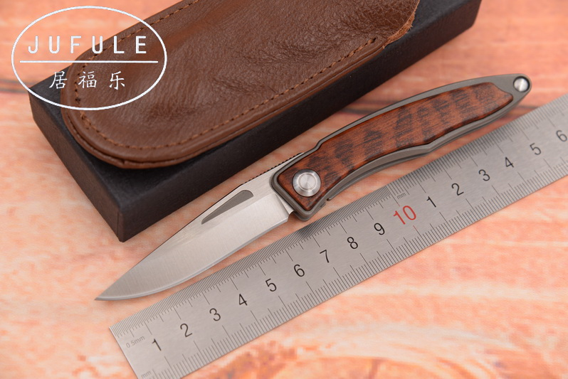 JUFULE Mnandi M390 Blade snake wood Titanium handle folding copper washer hunting camping Pocket Survival EDC