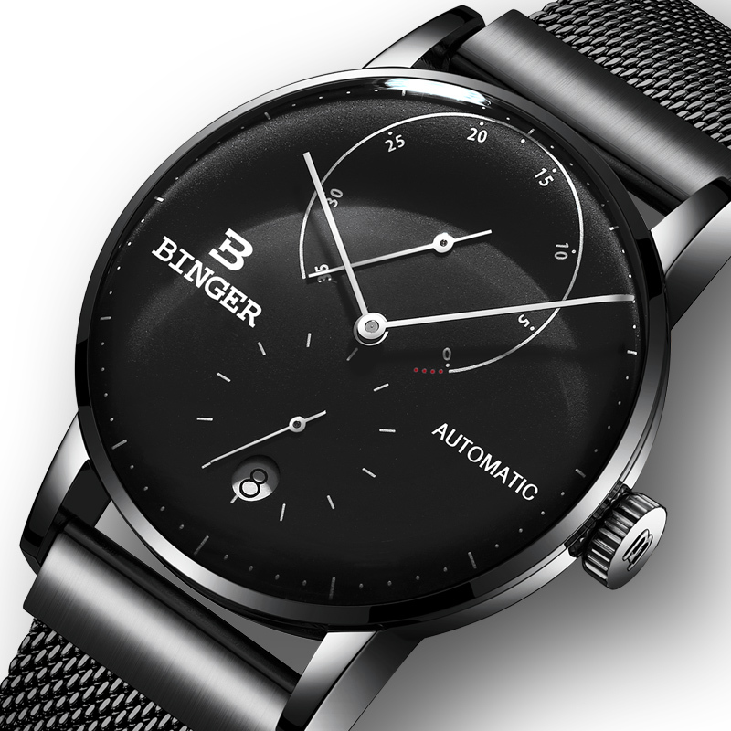 Switzerland BINGER Men Watch Luxury Brand Automatic Mechanical Mens Watches Sapphire Male Japan Movement reloj hombre B-1187-18 цена