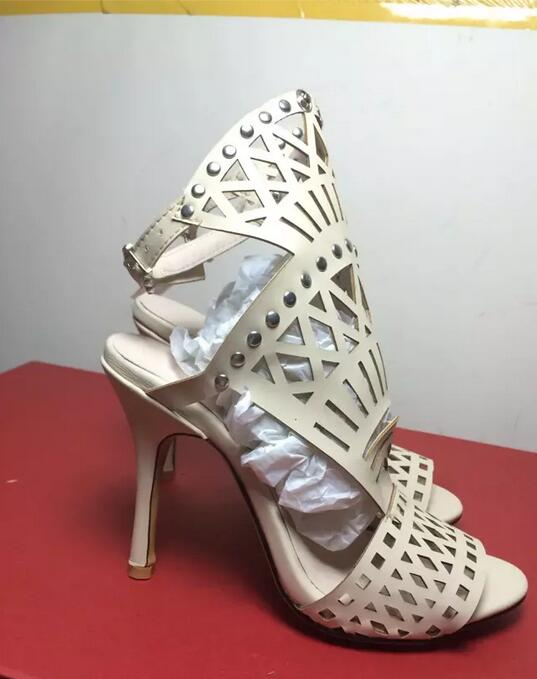 White black rivets women high heel sandals peep toe hollow out summer sandals real picture newest ankle buckle short boots trendy women s sandals with hollow out and peep toe design