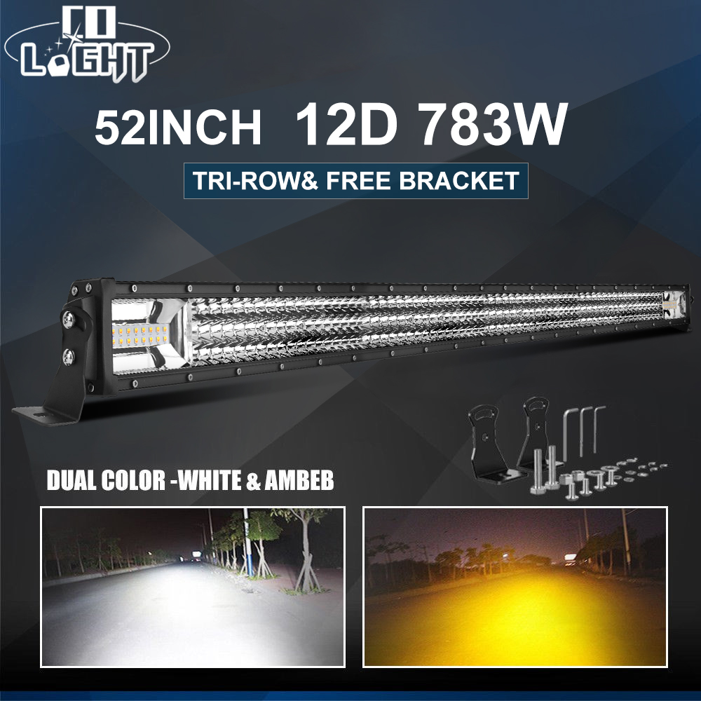 CO LIGHT 3 Row Strobe LED Work Light 22 32 42 52 inch Offroad Led Bar Combo Led Car Light for Truck ATV 4x4 Driving Lamp 12V 24V