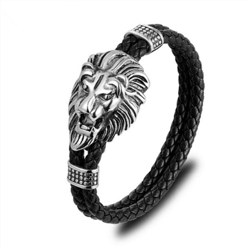 2019New Arrival Men Bracelets Lion Head Stainless Steel Black Double Layer Leather Bracelet Men Wristband Fashion Jewelry Gifts