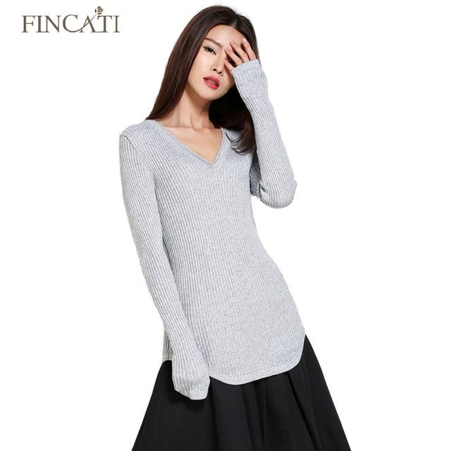 da65f3c8175 Autumn Winter High Elastic V Neck Women s Cashmere Woollen Formfitting  Striped Knitted Sweater Pulls Femme Tops Jersey