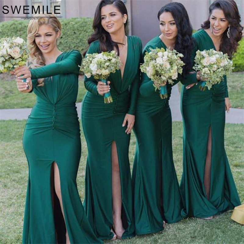 SWEMILE Long Sleeve Green Mermaid Bridesmaid Dresses Sexy V Neck Satin Wedding Party Dress With Slit Robe Demoiselle D'honneur