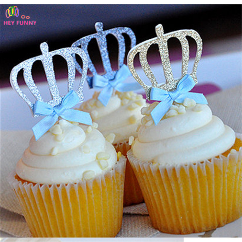 5 pcs/lot Bow Color&Gold/Silver Blue Glitter Crown Cupcake Toppers Picks Baby Shower Princess/Kids 1st Birthday Party Decoration