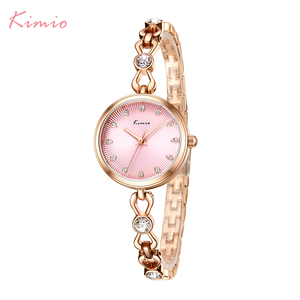 Image 2 - KIMIO Brand Small Dial Quartz Watches For Women Ladies Stainless Steel Hollow Thin Bracelet Watch Delicate Crystal Wristwatch