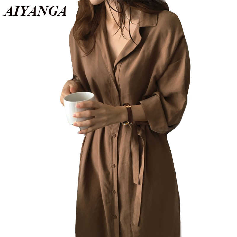2018 Autumn   Trench   Women Long   Trench   With Sashes Single Breasted Thin Style Shirts Outerwear Casual Loose Cardigan Coats Ladies