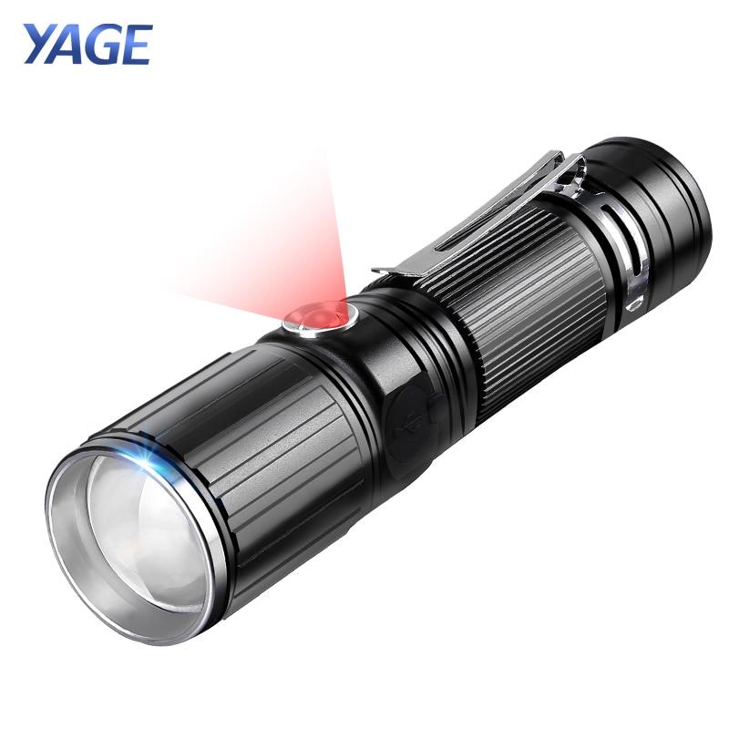 YAGE Rechargeable Led Flashlight Cree XML-T6 Lanterna Tactical flashlights USB Flashlight 18650 Lampe Touche Red Light Led Lamp налобный фонарь hedeli t6 cree xml 3000 18650 ht410c2
