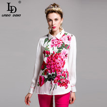 2017 Flower Floral Print Shirt Summer New Sexy Plus size Blouse High Qulity Casual Vintage Blouse