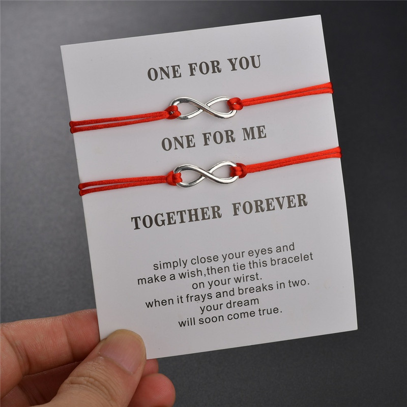 NEWBUY Trendy Lovers' Couple Jewelry Handmade Red/Black Rope Chain 8 Infinity Charm Bracelet For Women Men Best Gift