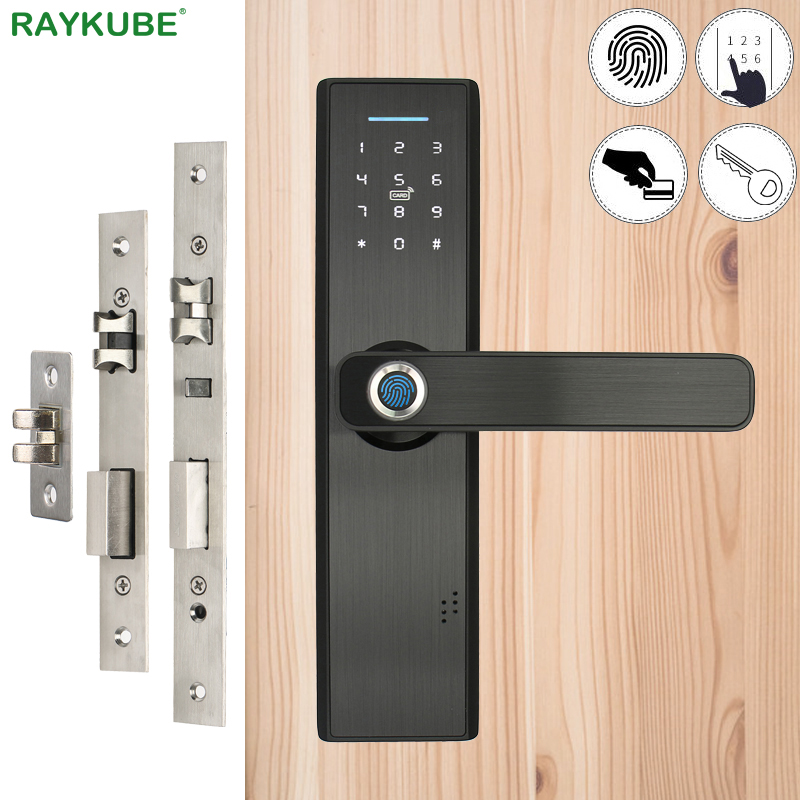 RAYKUBE Eletrônico Fechadura Da Porta Biométrico de impressões digitais/Digital Código/Smart Card/Cartão de Chave Fechadura Da Porta Mortise Deadbolt Keyless R-FG5