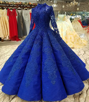 Custom Made Navy Blue Princess Long Sleeve Tulle Lace Beaded Pearls Crystal Luxury Evening Dress Party Dress Evening Gown EV78M
