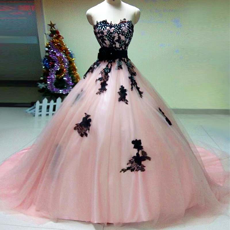 Pink Black Wedding Dress_Black Dresses_dressesss