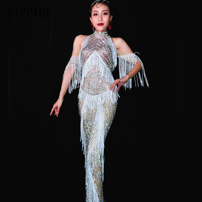 New design Fashion Luxurious Crystals Fringes Long Dress Evening Party Sexy Tassels Stretch Dress Prom Celebrate