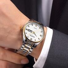 New European and American personality waterproof watch steel belt quartz simple business luminous trend 0019