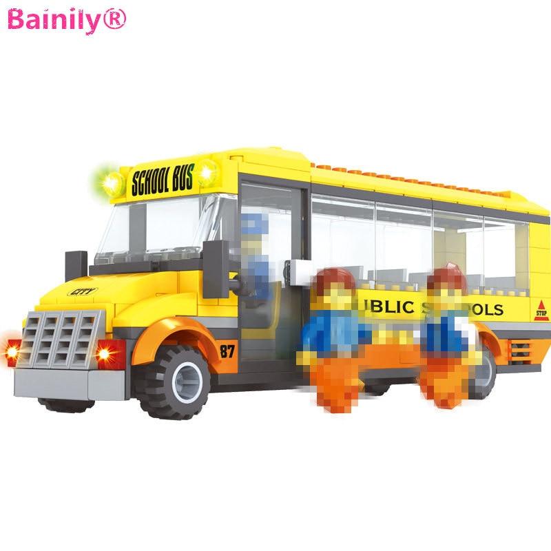[Bainily]293pcs Happy School Bus Car DIY Building Blocks Bricks Early Educational Toys Compatible with LegoINGlys city