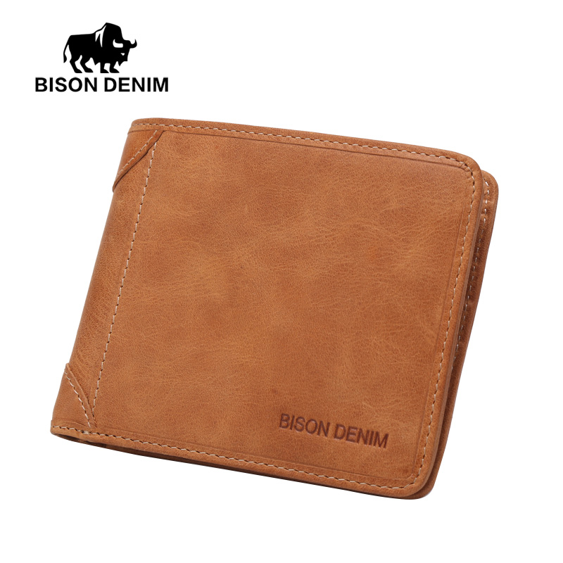BISON DENIM Vintage Mini Purse Men's Genuine Leather Wallet Business Card Holder Clutch Male Document Purse W4361-3VS
