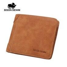 BISON DENIM Vintage Mini Purse Mens Genuine Leather Wallet Business Card Holder
