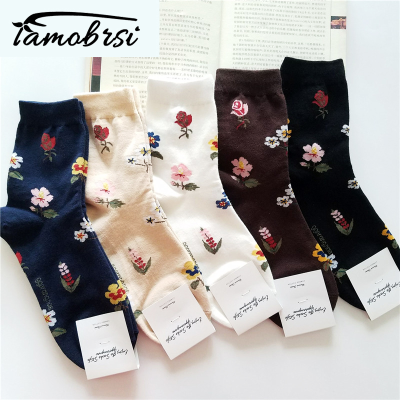 2019 Korean American Retro Rose Autumn Winter Cotton Casual Socks Warm Women Streetwear Cute Funny Socks Short Happy Ankle Socks