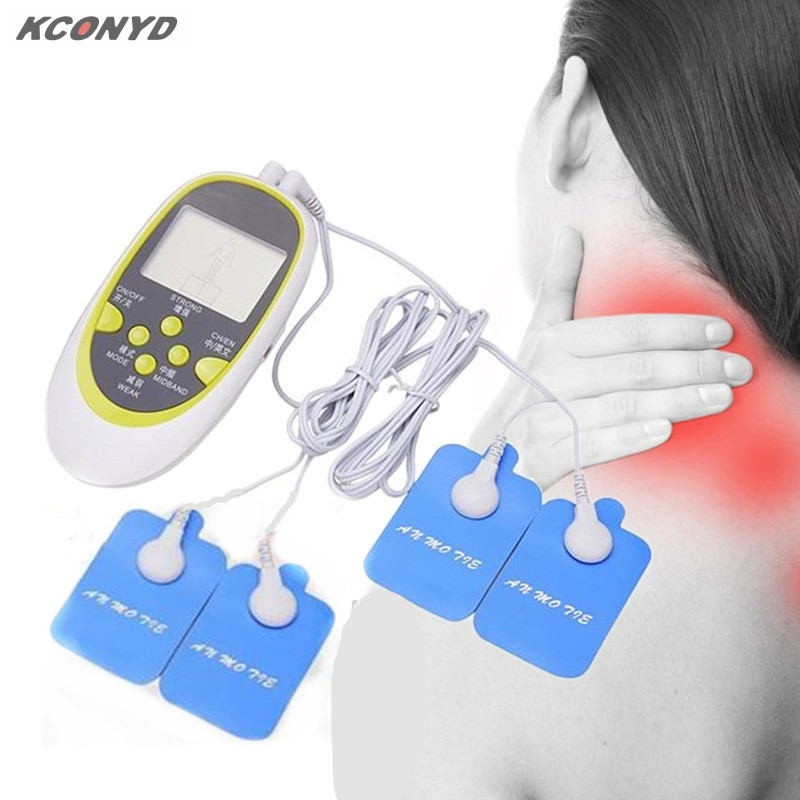 10PCS  dual output mini electronic slimming body physiotherapy tens therapy massager  electrode pads electrostimulator 2017 hot sale mini electric massager digital pulse therapy muscle full body massager silver