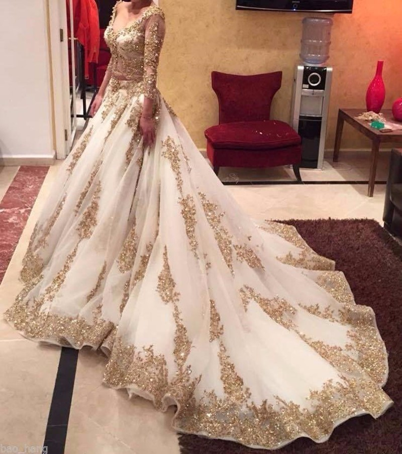 2019 Two Pieces Sheer Lace Muslim Wedding Dress Arabic Ball Gown Gold Lace Beads Luxury 3/4 Sleeves Bridal wedding Dresses-in Wedding Dresses from Weddings & Events    1