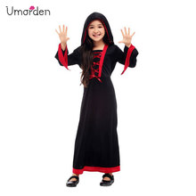 Umorden New Gothic Victorian Vampiress Costume Girls Kids Vampire Girl Cosplay Halloween Purim Party Fancy Hooded Dress
