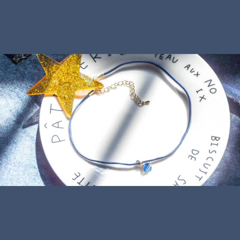 Niebieski elegancki Choker naszyjniki dla kobiet koronkowy aksamitny pasek z dziurką kwiaty krótki obojczyk biżuteria 2019 dziewczyna śliczny naszyjnik