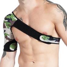 Adjustable Left Right Shoulder Bandage Protector Brace Joint Pain Injury Camouflage Shoulder Support Strap Tank top shoulder magnetic support brace protector black size l
