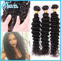 4 Pcs/lot 7A Malaysian Virgin hair silk base closure with bundles, deep wave unprocessed 3 bunles human hair with silk closure