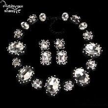 Dvacaman Marca 2017 de La Moda de Fiesta de Bodas de Cristal Declaración de Collar y Pendientes de la Joyería Nupcial India Establece Mujeres Accesorios O16