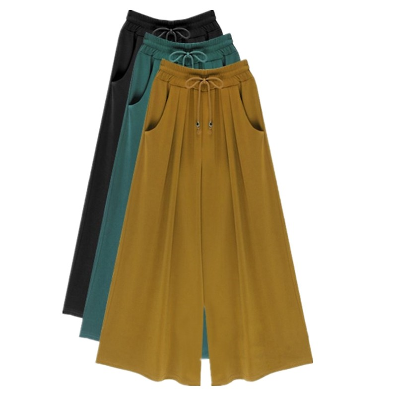 Women Summer   Wide     Leg     Pants   Plus Size M-4XL 5XL 6XL Female Casual Loose Harem   Pants   Palazzo Culottes Stretch Trouser Clothing
