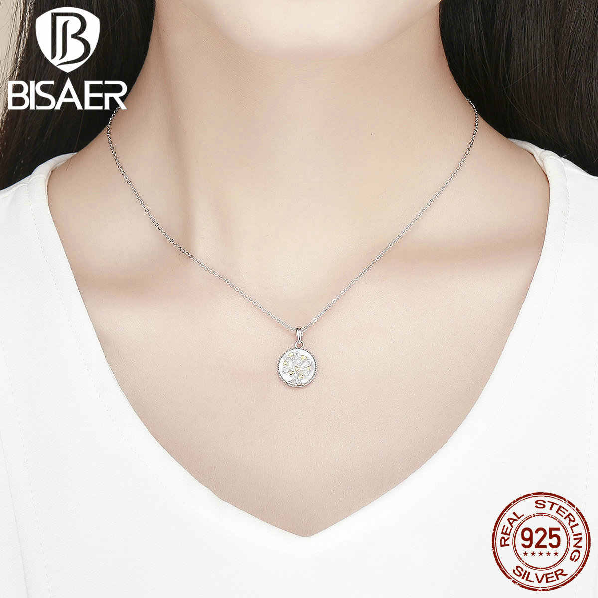 BISAER, ожерелье в виде ракушки, 925 пробы, серебро, био цвет, золото, сердце, древо жизни, белая оболочка, ожерелье с подвеской для женщин GXN296