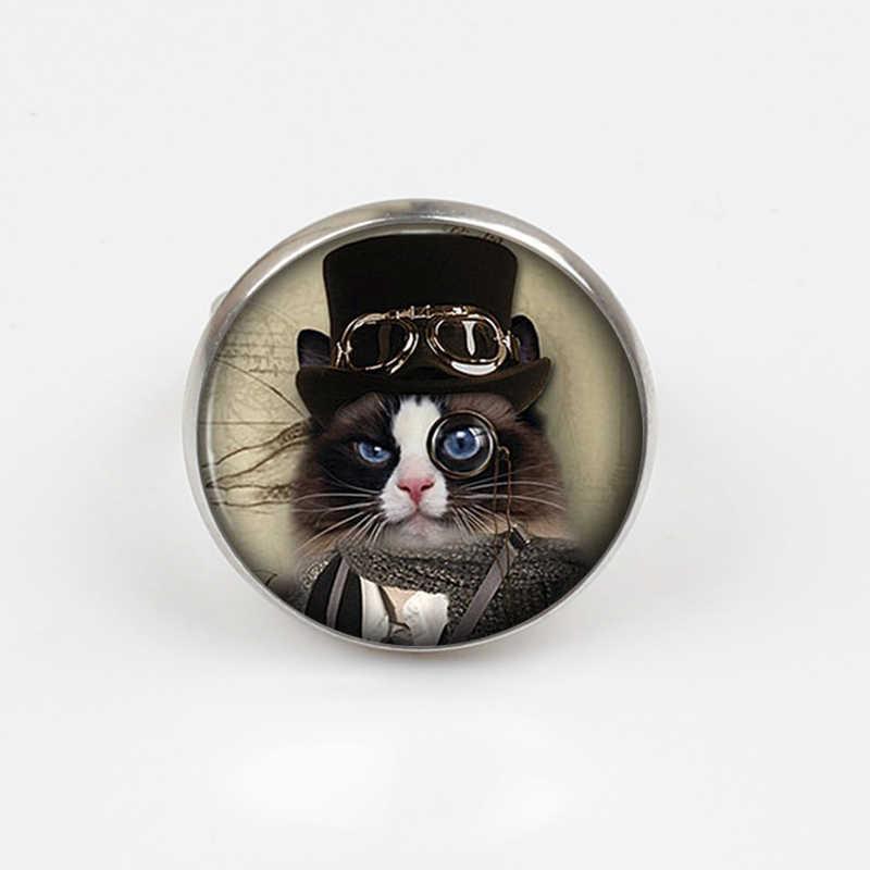 ZBOZWEI 2018 Алиса чудес Чеширский кот маленький котенок стимпанк кольцо ручной работы Для женщин Jewelry Для мужчин унисекс платье аксессуары подарок