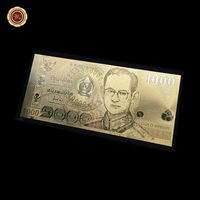 Exquisite Gold Art And Craft ,1000 Baht Thailand Banknotes In Gold 999 for Business And Gift