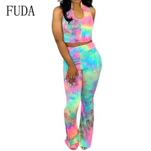 FUDA Summer U-neck Sleeveless Tie-dyed Jumpsuits Two Pieces Suits Women Elegant Vintage Hollow Out Party Rompers Plus Size XXL