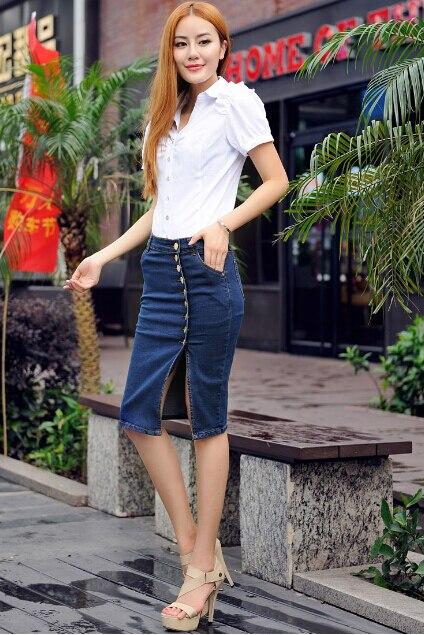 XS s m L XL XXL 3XL 4XL 5XL Новое поступление джинсовые юбки женские джинсы-карандаш юбка на пуговицах спереди для женщин