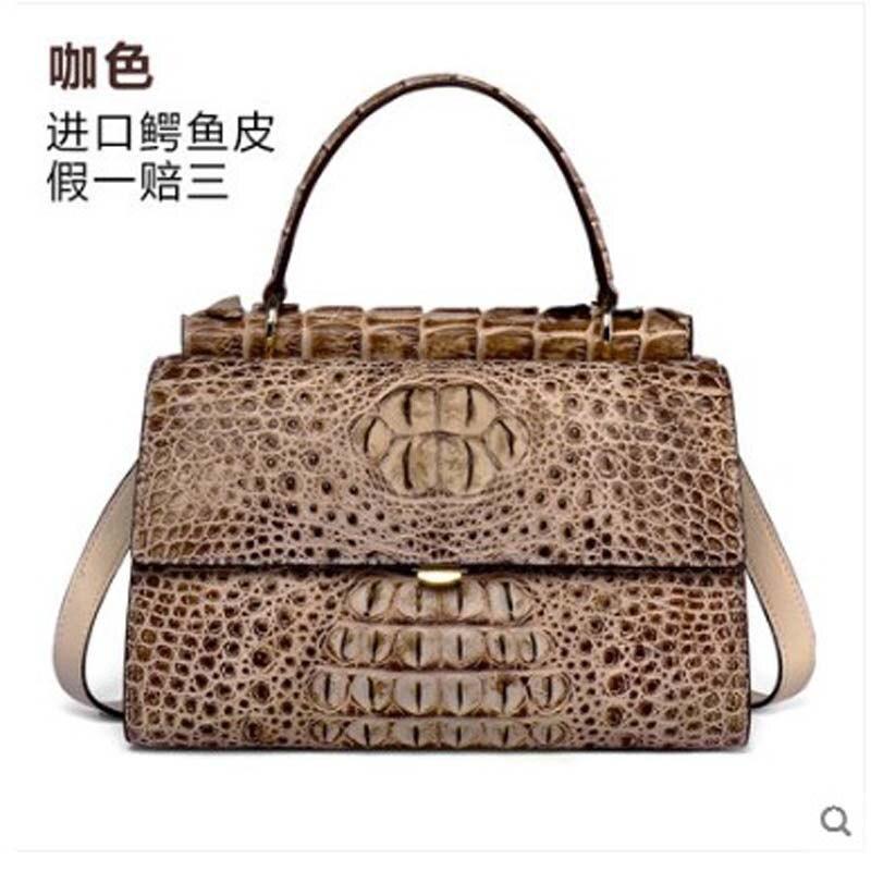 yuanyu 2019 new crocodile handbag handbag leather shoulder bag large capacity high-end lady bag crocodile bag