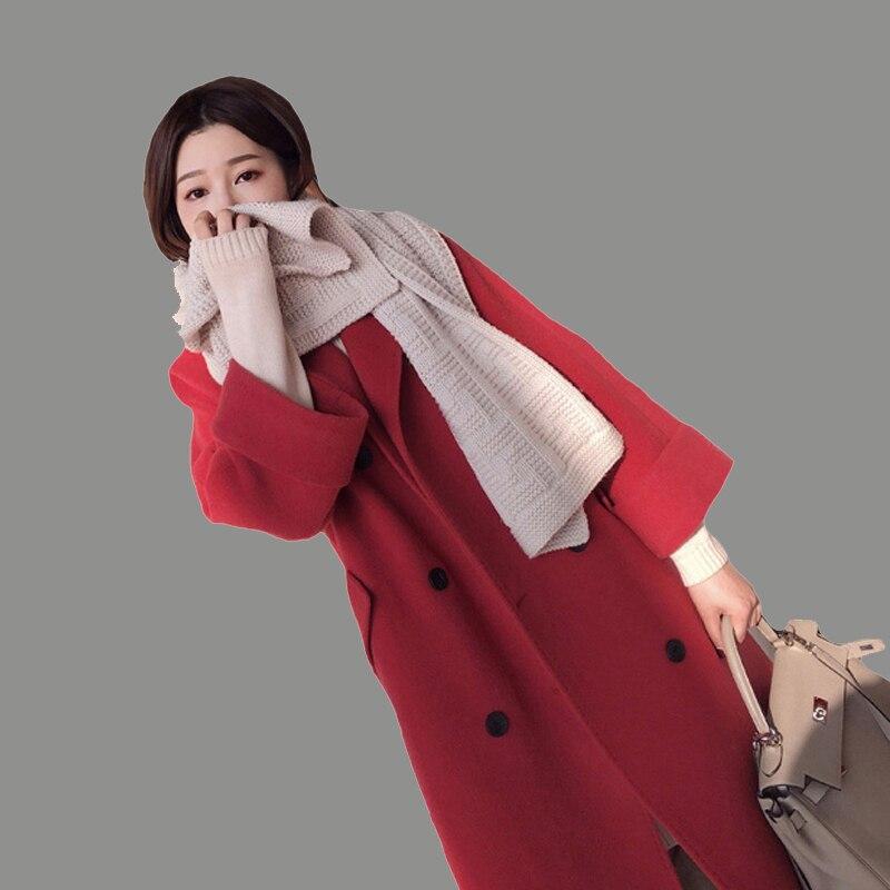 Double Laine Rangée De Rouge Survêtement Hiver Bouton Longue Mince Nouvelles Manteau Solide Mode Veste Automne Classique F Épaissir 2018 Femmes xSPwqf