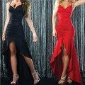 Женщины Знаменитости Лето Сексуальное Платье Спинки Low Cut Ремень Falbala Длинное Тело Кон Платье Vestidos De Fiesta 2016 Дам Kleding