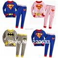 Новые 2014, дети, ребенок мальчик одежда, детская одежда, bebe, девушка пижамы, pijamas, супермен, дети пижамы установить, пижамы дети устанавливает,