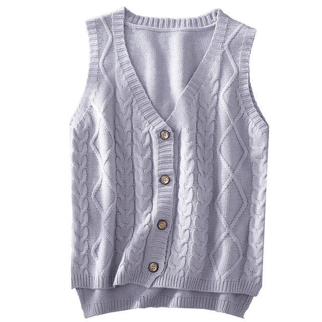 2e1af8640d Short Sweater Vest Women Vintage Solid Color V Neck Outer Jacket Outwear  Female Basic Twist Cable Knitted Sleeveless Pullovers