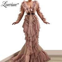 Tulle Arabic Long Sleeves Mermaid Evening Dresses 2019 Long Muslim Party Dress Formal Party Dress Women Elegant Robe De Soiree