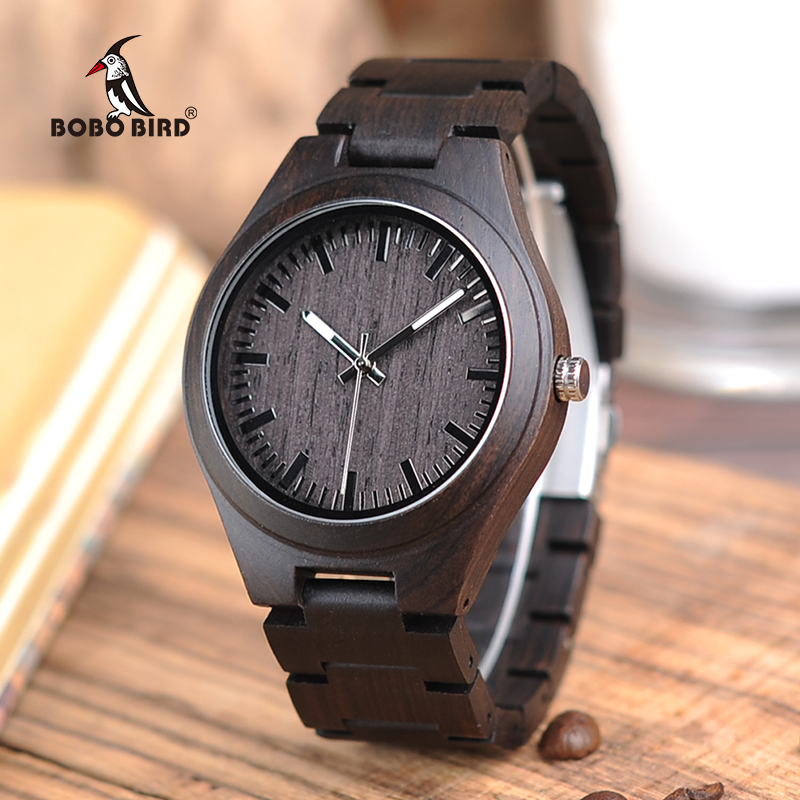 BOBO BIRD Full Ebony Wood Watch for Men Analog Quartz Movement Wooden Strap Wristwatch relogio masculino B-I22 bobo bird f08 mens ebony wood watch japan movement 2035 quartz wristwatch with leather strap in gift box free shipping