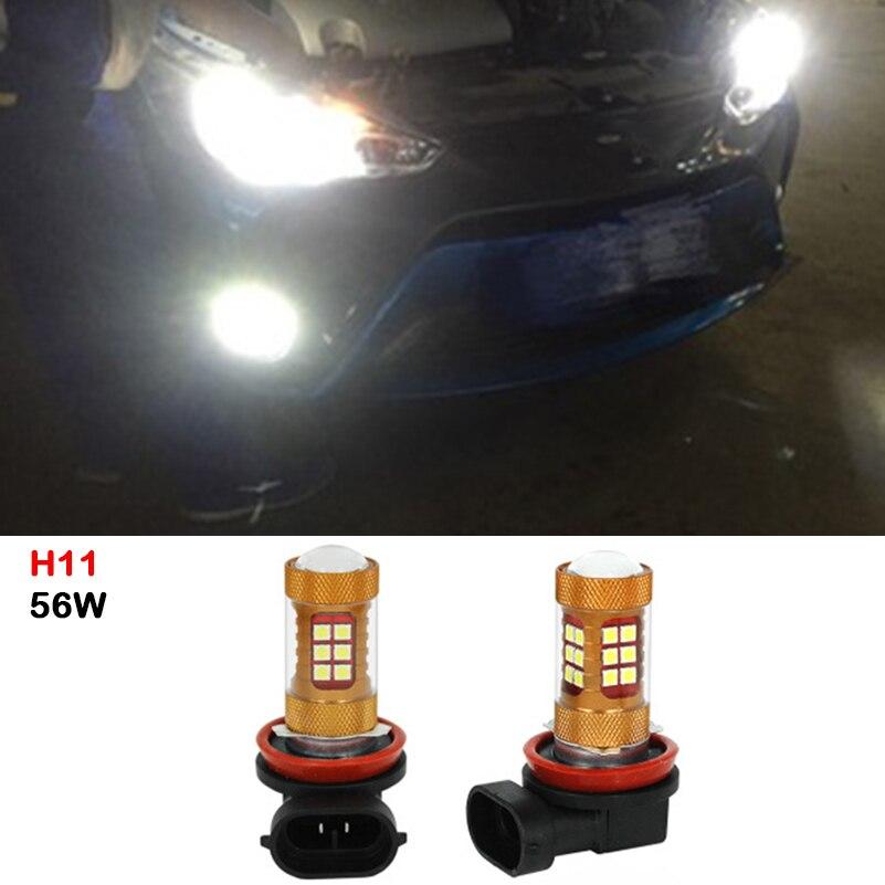 2x H11 DRL Fog Lights Daytime Running Light 56W Super Bright LED Fog Light For Toyota HighLander Tundra Venza Sequoia Previa