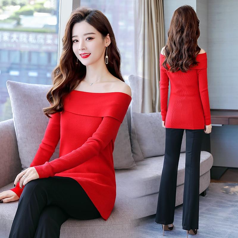 Chandail Femmes Encolure Simple Long Sexy Élégantes Pull Longues Rouge Chemise Blouse Occasionnelles Manches Chemises Top Hiver Style 004qzgn