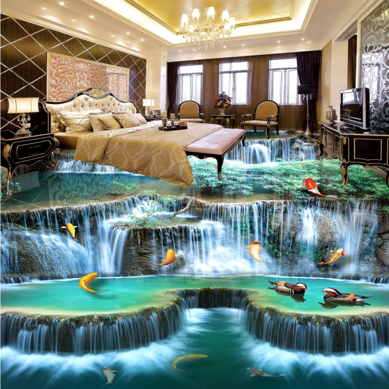 Free shipping waterproof home decoration children room bathroom floor mural self adhesive wallpaper Falls River 3D Floor free shipping custom self adhesive home decoration floor living room bedroom bathroom wallpaper mural dolphin ocean 3d floor