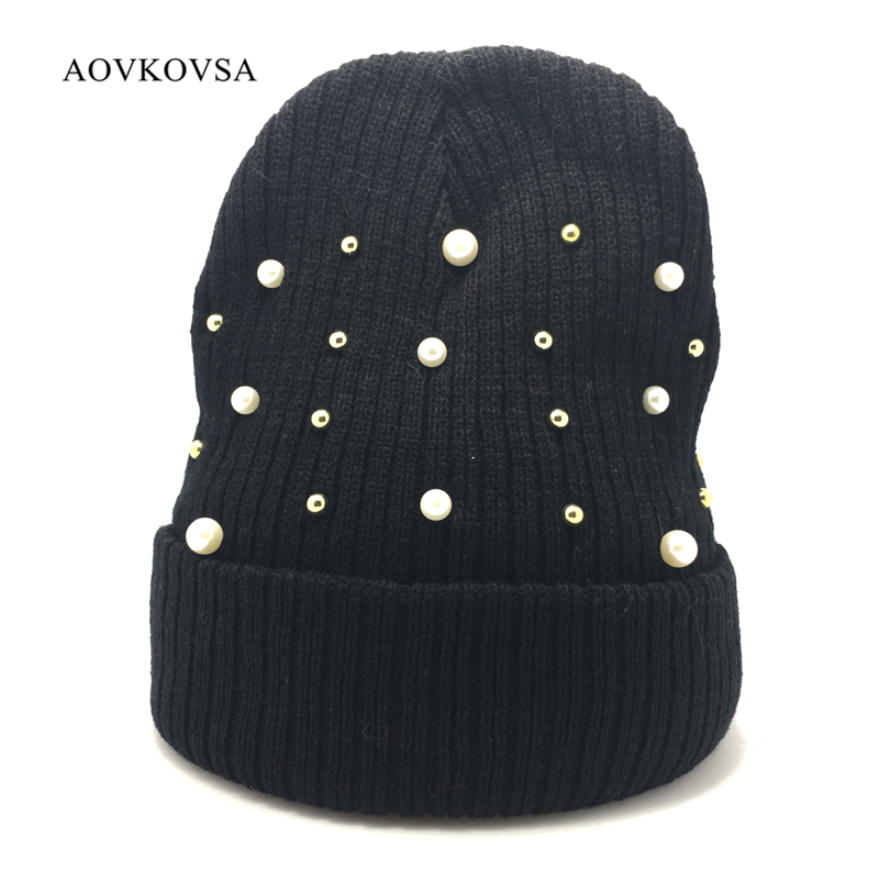 AOVKOVSA 2017 Striped Adult Casual Personality Pearl Women Knitting Hat and Keep Warm Winter Hats girl Skullies Beanies 2017 yhkgg the girl s hat warm and comfortable in winter hats the ornament of a flower cute baby hat knitting hat
